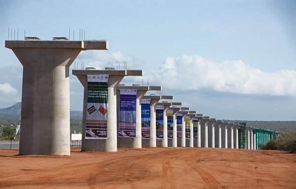 Photo: China-African co-operation in action: Construction work on the 485km Mombasa-Nairobi Line.