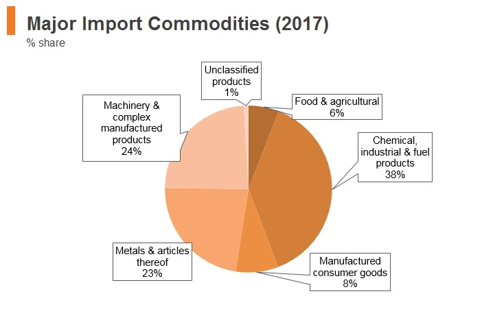 Graph: India major import commodities (2017)