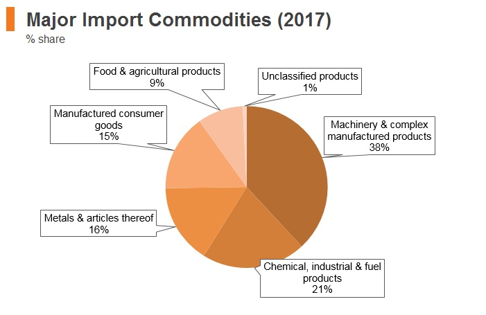 Graph: Israel major import commodities (2017)