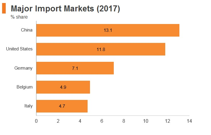 Graph: Israel major import markets (2017)