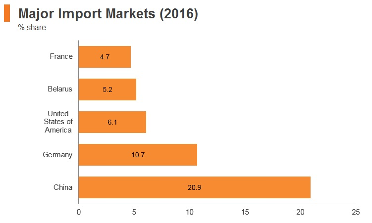 Graph: Russia major import markets (2016)