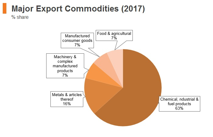Graph: Russia major export commodities (2017)