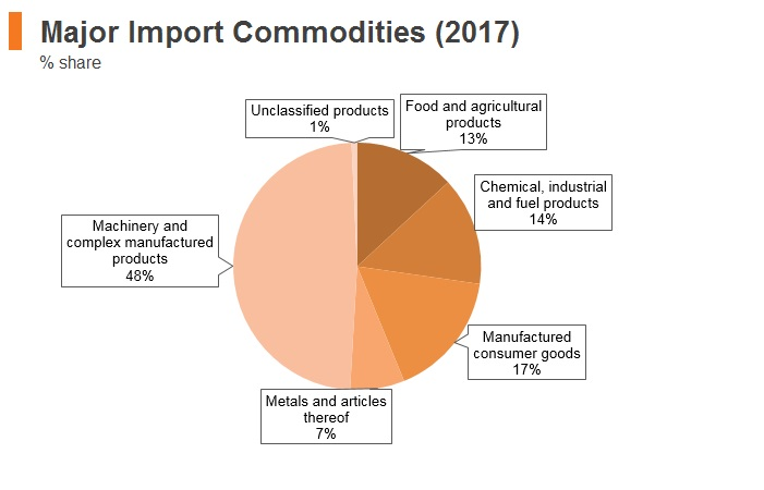 Graph: Russia major import commodities (2017)