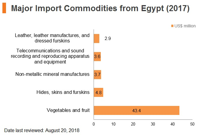 Graph: Major import commodities from Egypt (2017)