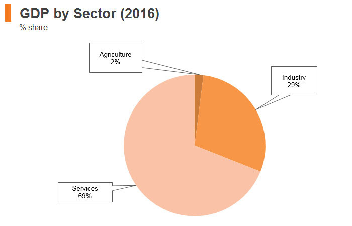 Graph: South Africa GDP by sector (2016)