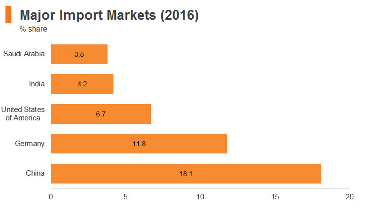 Graph: South Africa major import markets (2016)