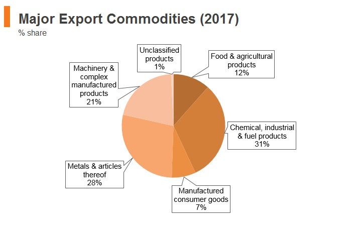 Graph: South Africa major export commodities (2017)