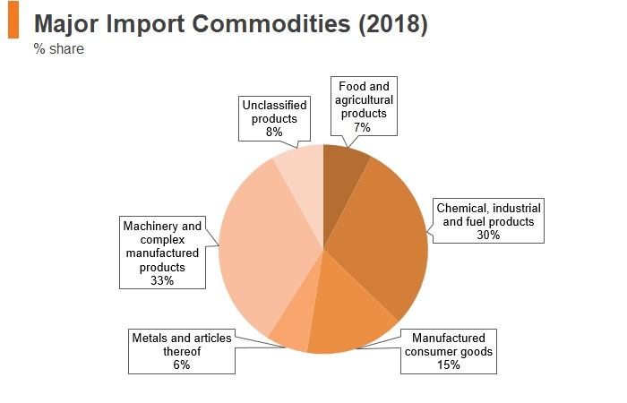 Graph: South Africa major import commodities (2018)