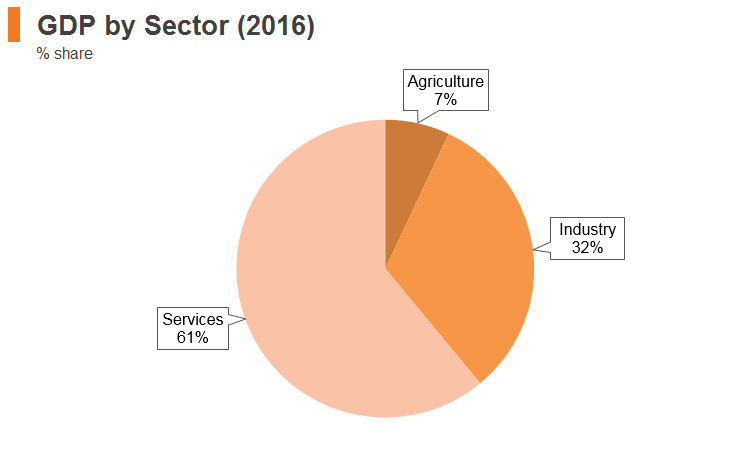 Graph: Turkey GDP by sector (2016)