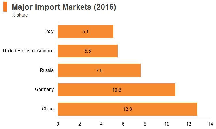 Graph: Turkey major import markets (2016)