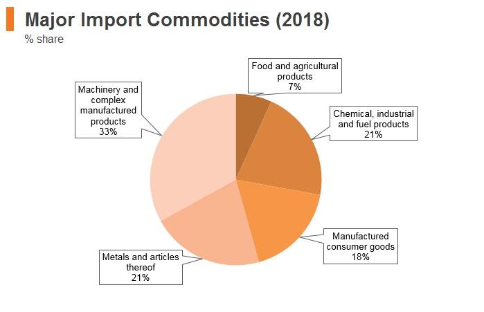 Graph: Turkey major import commodities (2018)