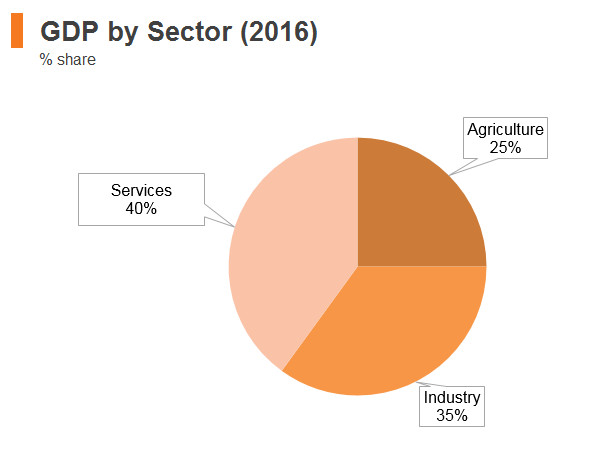Graph: Myanmar GDP by sector (2016)