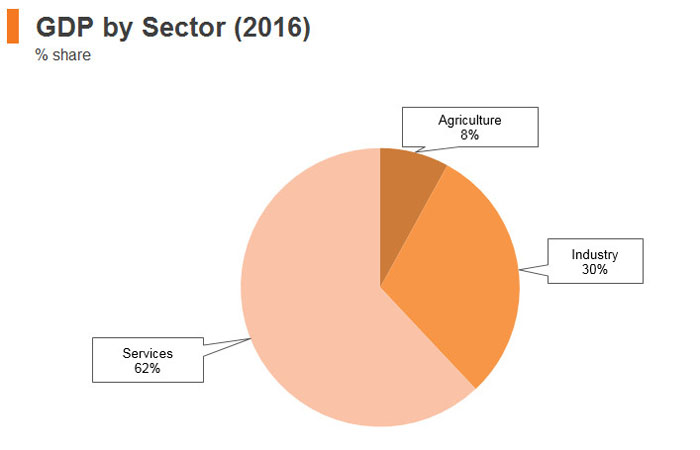 Graph: Sri Lanka GDP by sector (2016)