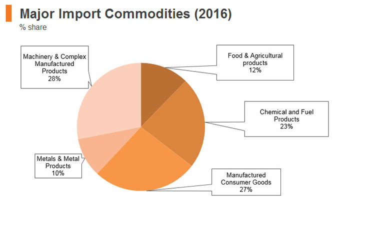 Graph: Sri Lanka major import commodities (2016)