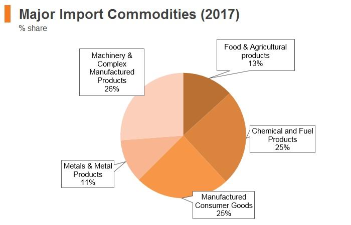 Graph: Sri Lanka major import commodities (2017)