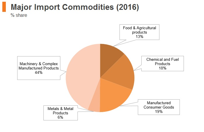 Graph: New Zealand major import commodities (2016)