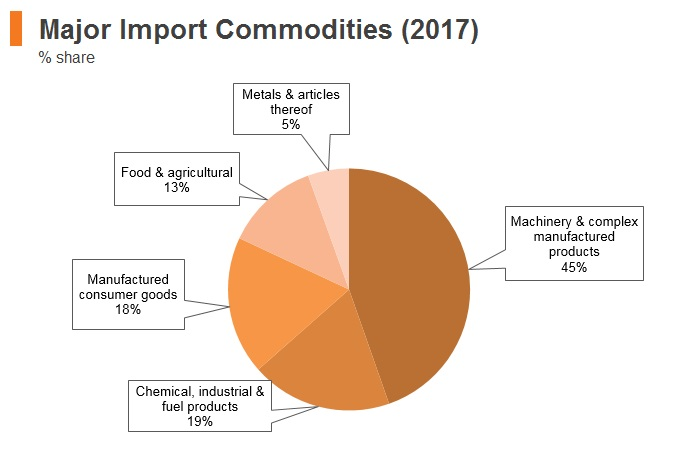 Graph: New Zealand major import commodities (2017)