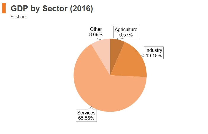 Graph: New Zealand GDP by sector (2016)