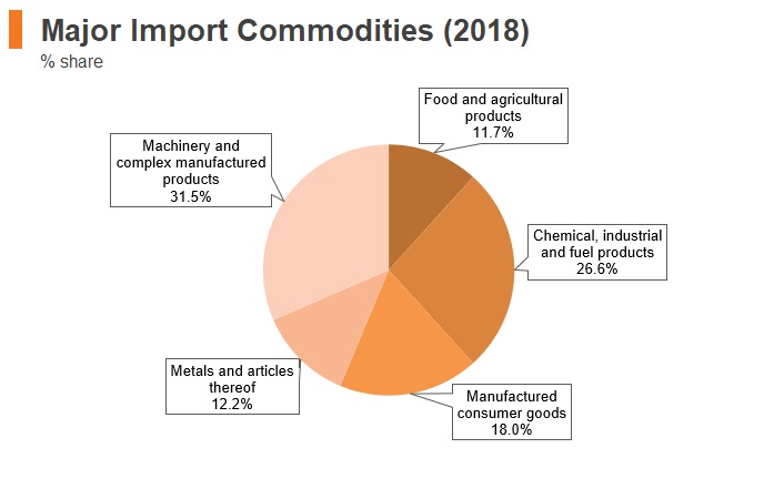 Graph: Italy major import commodities (2018)