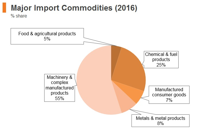 Graph: Singapore major import commodities (2016)
