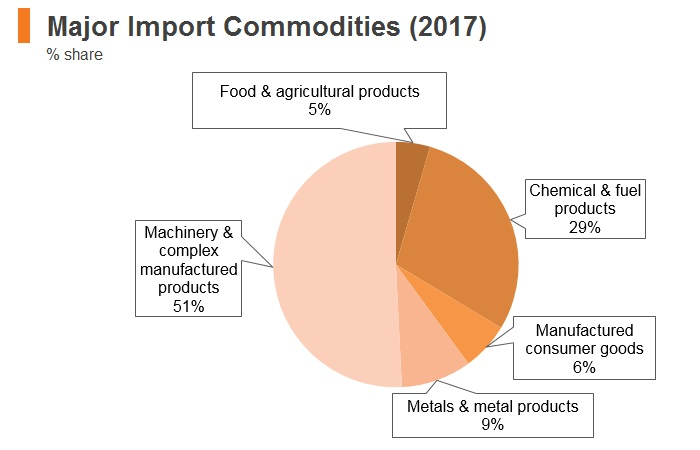 Graph: Singapore major import commodities (2017)