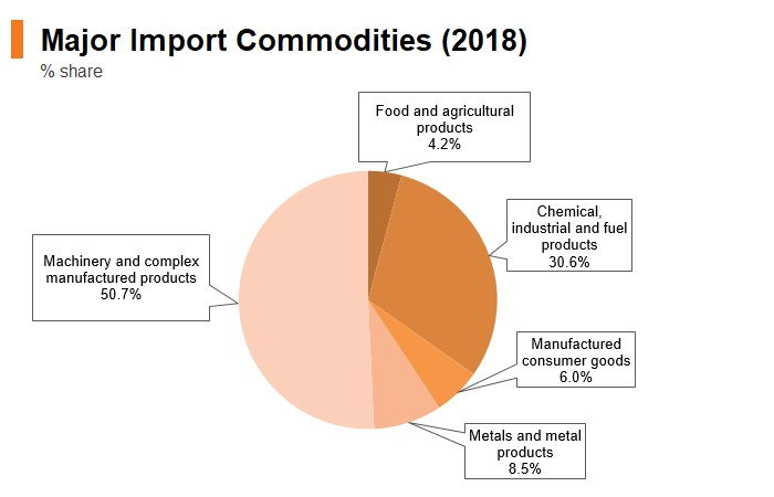 Graph: Singapore major import commodities (2018)