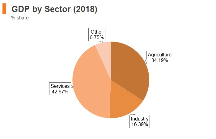 Graph: Kenya GDP by sector (2018)