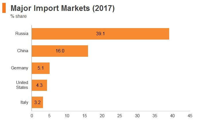 Graph: Kazakhstan major import markets (2017)
