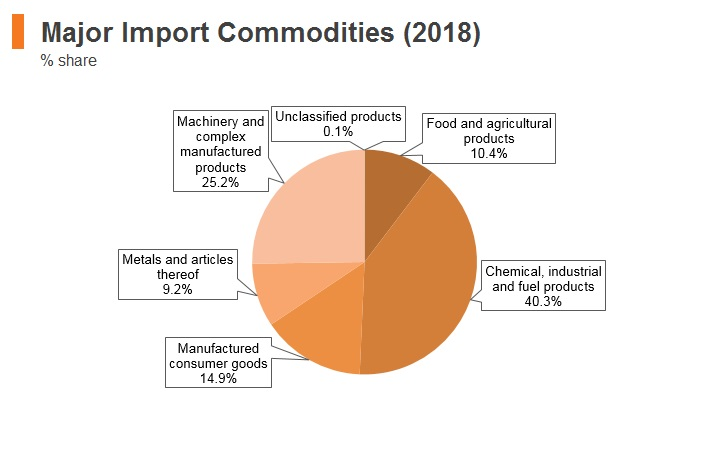 Graph: Pakistan major import commodities (2018)