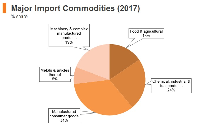 Graph: Kyrgyzstan major import commodities (2017)