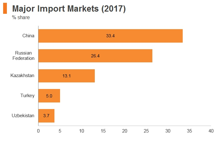 Graph: Kyrgyzstan major import markets (2017)