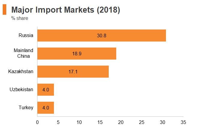 Graph: Tajikistan major import markets (2018)