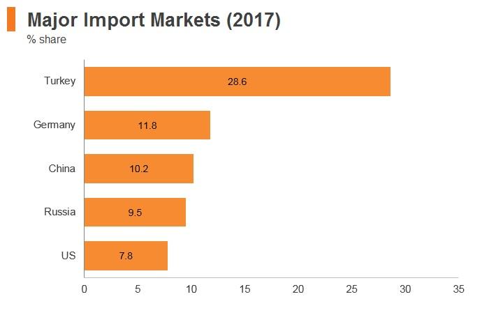 Graph: Turkmenistan major import markets (2017)