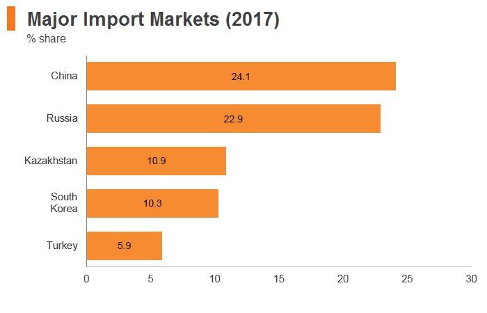 Graph: Uzbekistan major import markets (2017)