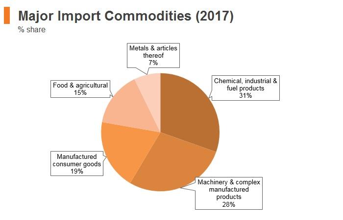 Graph: Georgia major import commodities (2017)