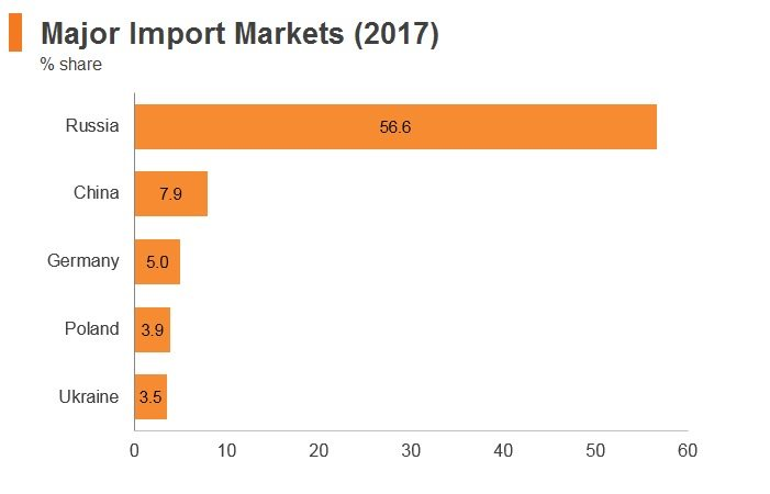 Graph: Belarus major import markets (2017)