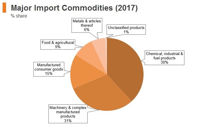 Graph: Ukraine major import commodities (2017)