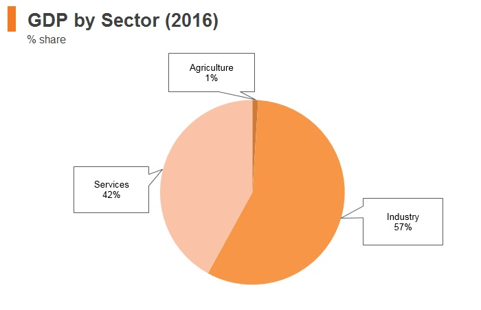 Graph: Brunei GDP by sector (2016)
