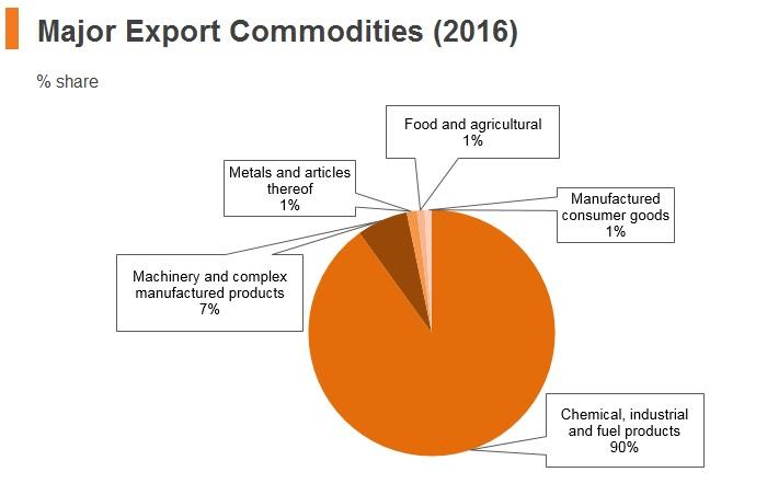 Graph: Brunei major export commodities (2016)