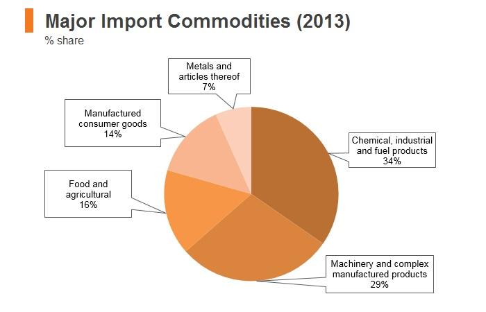 Graph: Timor-Leste major import commodities (2013)