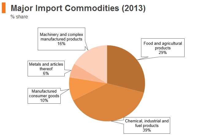 Graph: Yemen major import commodities (2013)