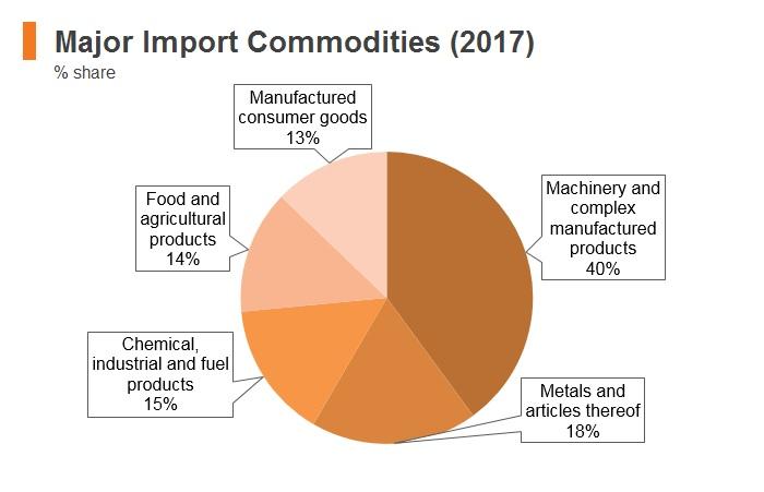 Graph: Oman major import commodities (2017)