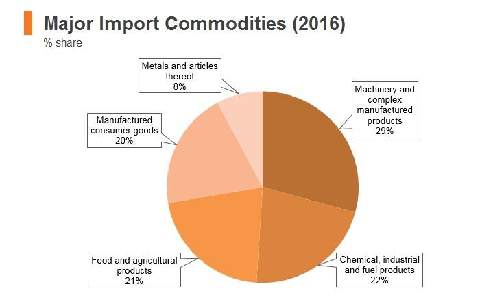Graph: Maldives major import commodities (2016)