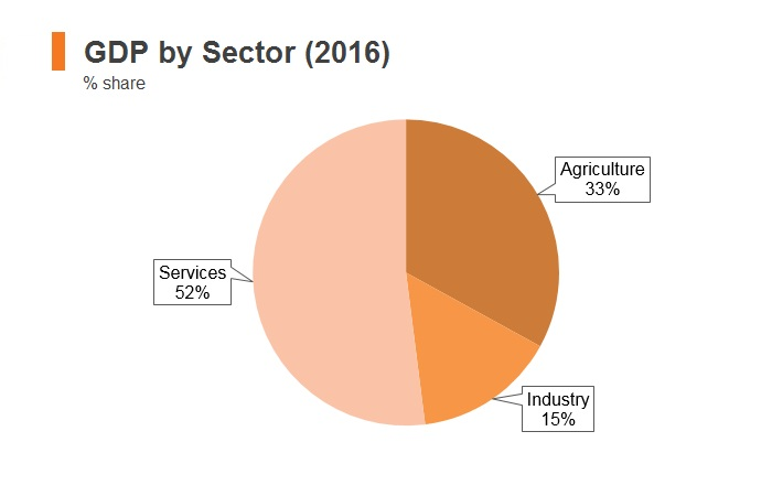 Graph: Nepal GDP by sector (2016)