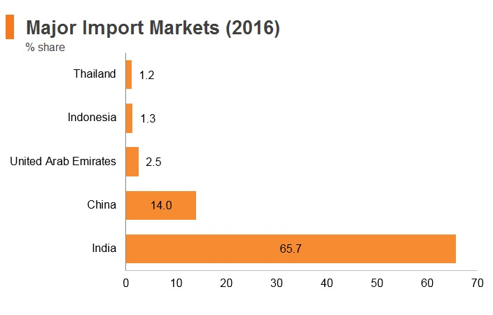 Graph: Nepal major import markets (2016)