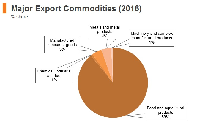Graph: Ethiopia major export commodities (2016)