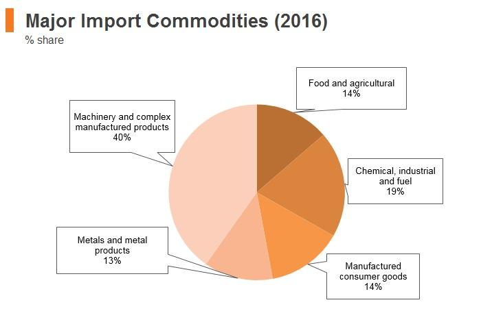 Graph: Ethiopia major import commodities (2016)