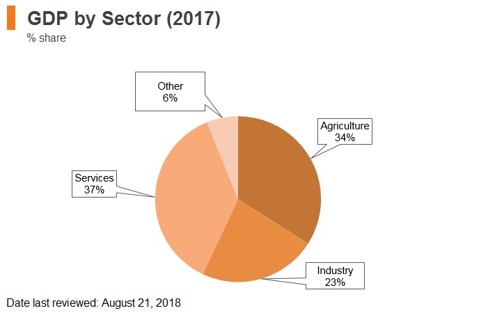 Graph: Ethiopia GDP by sector (2017)