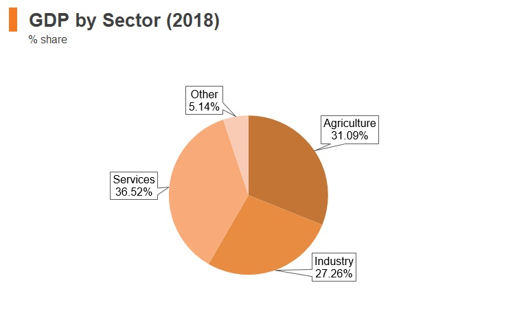 Graph: Ethiopia GDP by sector (2018)