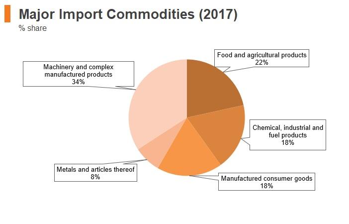 Graph: Sudan major import commodities (2017)